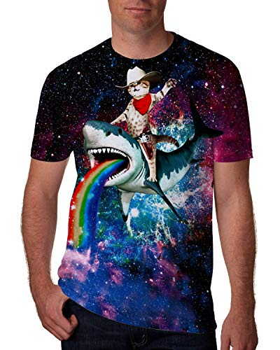 Goodstoworld Unisex 3D Print T-Shirts Galaxy Space Cat on Shark Women Men Slim Fit Graphic Shirts Gay Guy Beach Party Festival Holiday Surfing Cruise Sportswear Athletic Muscle Tee Shirts Large ()
