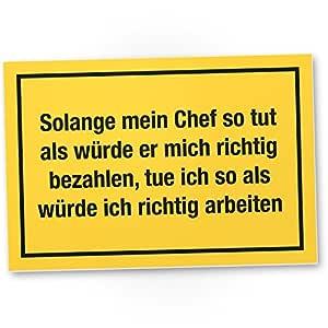 Solange Mein Chef plástico Cartel con mensaje placa para ...