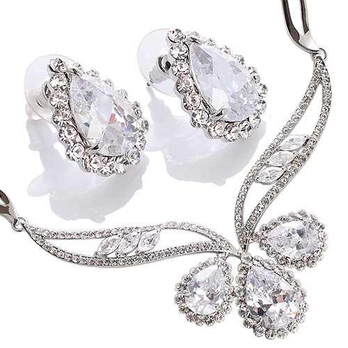 Womens Necklace   Earrings Jewellery Set. Silver Rhodium Plated with Clear  Pear Drop Swarovski Crystal b63962a9c962
