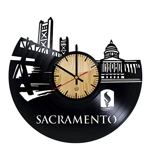 Welcome Dzen Store Sacramento Record Wall Clock - Get unique of living room wall decor - Gift ideas for girls and boys – Big City in USA Unique Art -