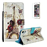 Sparkle Diamond Case for iPhone XR 6.1 inch [with Free Screen Protector],Funyye Elegant Premium Folio 3D Patterns PU Leather Soft Wallet Magnetic Flip Cover with [Wrist Strap] and [Built-in Credit Card Slots] Color Painted Pattern Design Stand Function Case for iPhone XR 6.1 inch,Tower