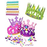 12 Princess Foam Tiara Craft Kits + 12 Prince King Foam Crown Craft Kits - Great fun for kids birthday party. (Original Version)