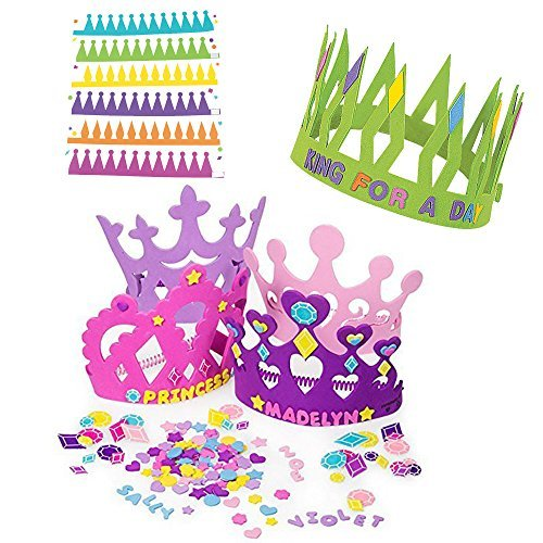 12 Princess Foam Tiara Craft Kits + 12 Prince King Foam Crown Craft Kits - Great fun for kids birthday party. (Original Version) -