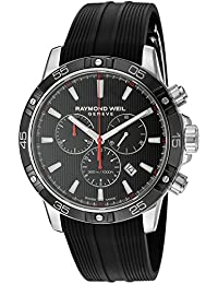 Men's 'Tango' Swiss Quartz Stainless Steel and Rubber Casual Watch, Color:Black (Model: 8560-SR1-20001)