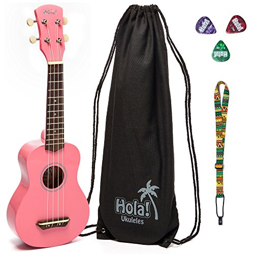 Hola! Music HM-21 Soprano Ukulele Bundle with Canvas Tote Bag, Strap and Picks, Color Series - Pink