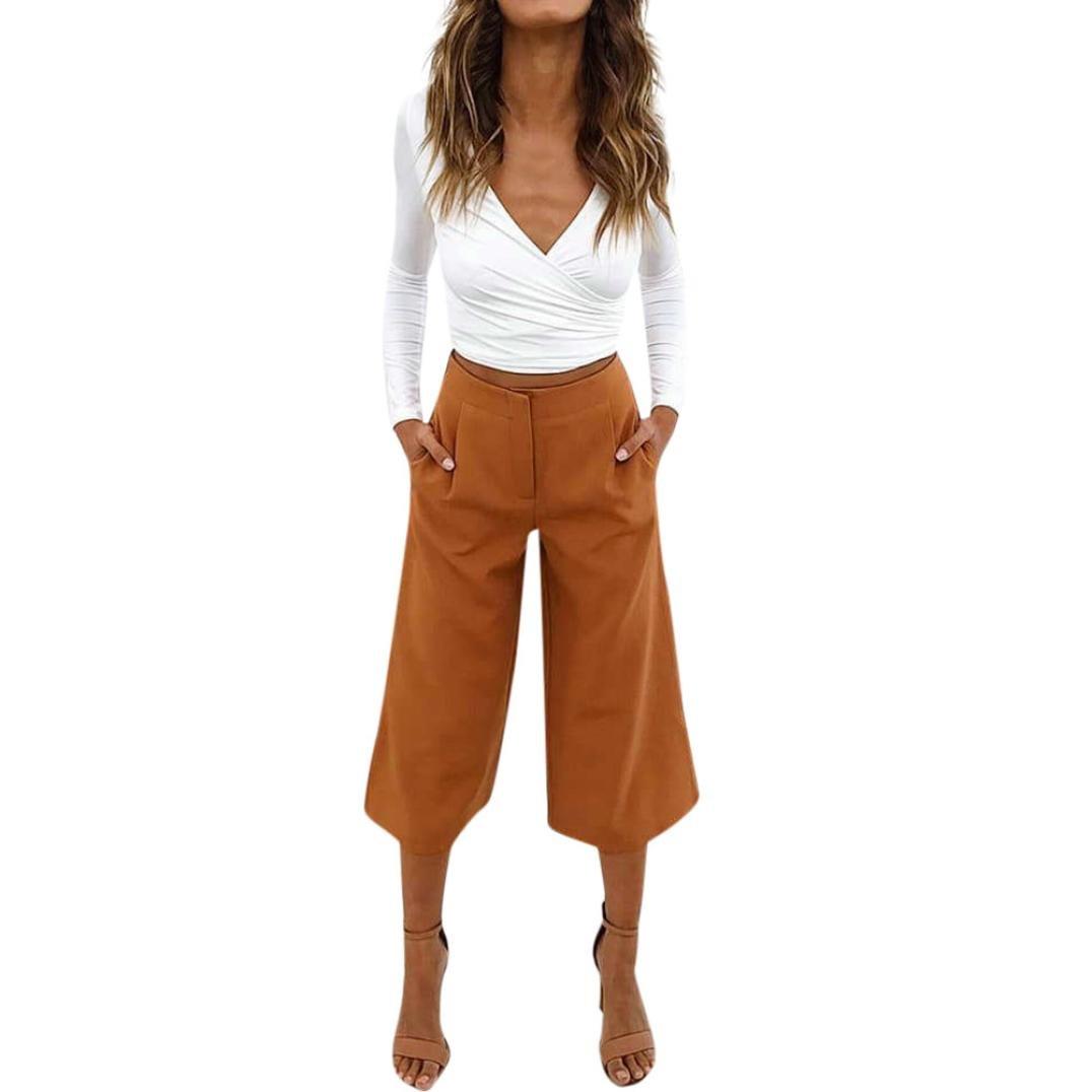 Women OL Wide Legs Pants Loose Zipper Waist Slim Straight Leggings Calf-Length Pants Palazzo Trousers (XL, Yellow)