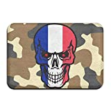 France Flag Skull Indoor Outdoor Entrance Rug Non Slip BathMats Doormat Rugs Home