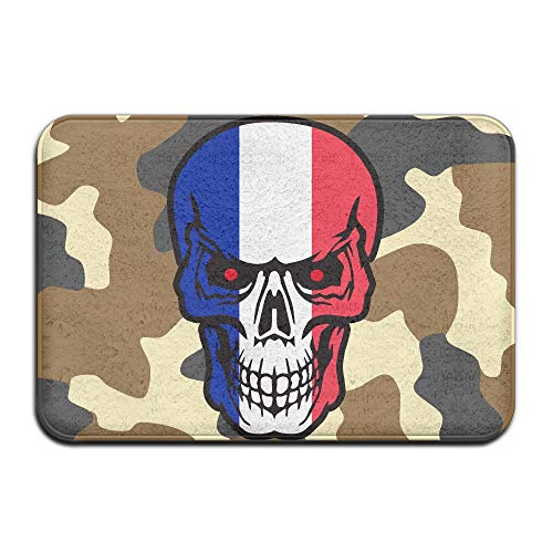 France Flag Skull Indoor Outdoor Entrance Rug Non Slip BathMats Doormat Rugs Home by HONMAt-Non