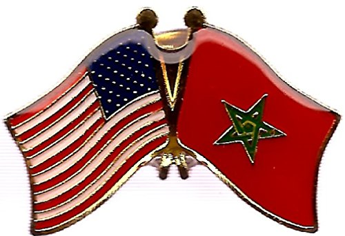 Box of 12 Morocco & US Crossed Flag Lapel Pins, Moroccan & American Double Friendship Pin Badge ()