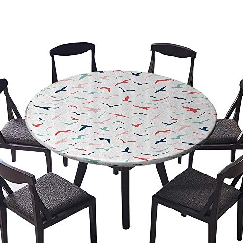 "Youdeem-tablecloth Circular Table Cover Seabirds Feeders Boundless Fly Springtime Travel WaWeather Machine Washable 31.5""-35.5"" Round (Elastic Edge)"
