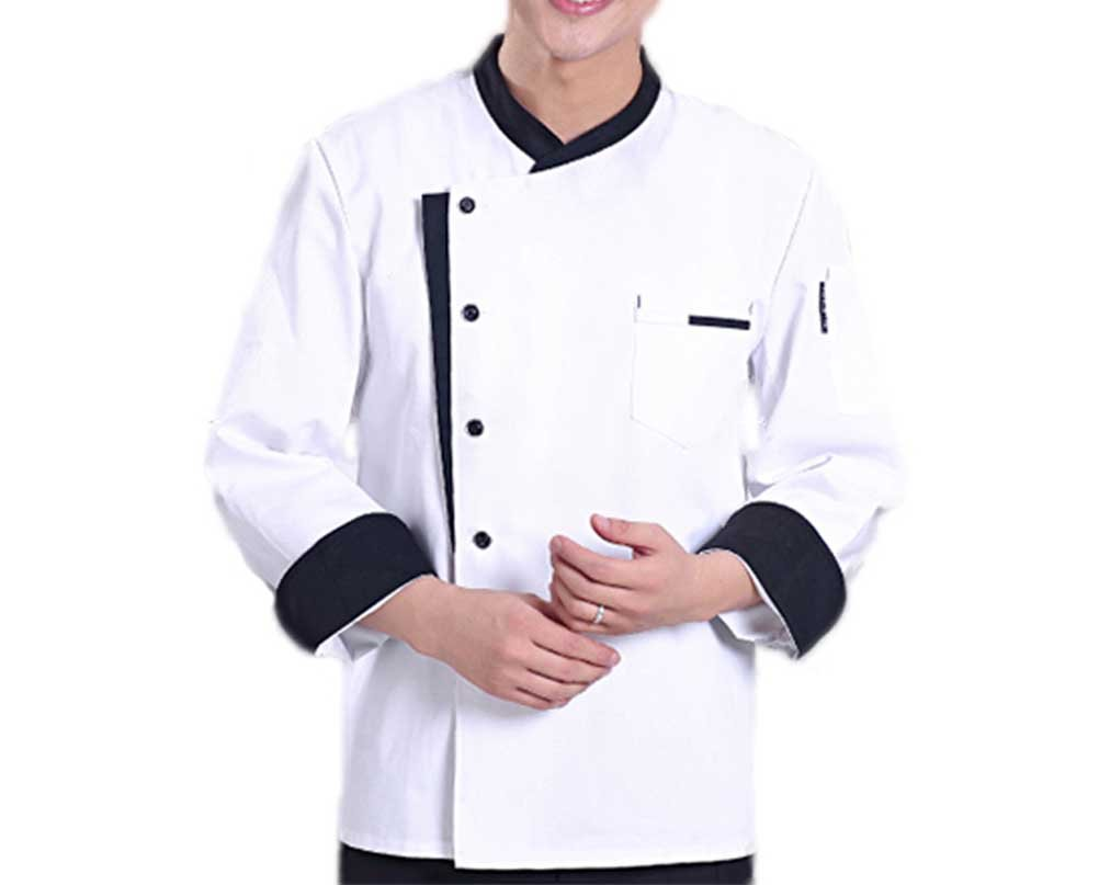 Nanxson(TM Slim Fit Unisex Hotel/Kitchen Working Uniform Short Sleeved Chef Vest Jacket CFM0016 (L, White)