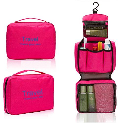 Foxnovo Portable Multi-function Waterproof Hanging Wash Bag Toiletry Bag Travel Cosmetic Bag Pouch Organizer (Rosy), [Importado de UK]