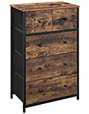 SONGMICS Rustic Storage Dresser Tower with 5 Fabric Drawers, Industrial Style Dresser Unit, ULGS45H