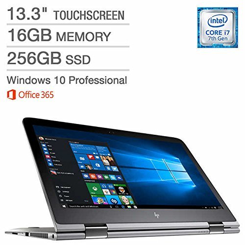 HP ENVY x360 13.3″ High Performance Touchscreen 2-in-1 Business Laptop,Intel 7th Gen Core i7, 16GB RAM, 256GB PCIe SSD, Windows 10 Professional, Office 365
