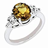 925 Sterling Silver Diamond Oval Whiskey Quartz Band Ring Size 7.00 Gemstone Fine Jewelry Gifts For Women For Her