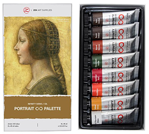 Non-Toxic Oil Paints for Professional Artists - 8 x Large 45ml Tubes - Portrait Palette of Eco-Friendly Paint with Exceptional Pigment and Lustrous Sheen - The Infinity Series by ZenART