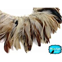 Rooster Feathers, Natural Cream and Red Strung Rooster Feathers - 4 Inch Strip