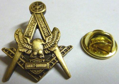 Harley Davidson Motorcycle Masonic Masonry Antique Gold Lapel Pin