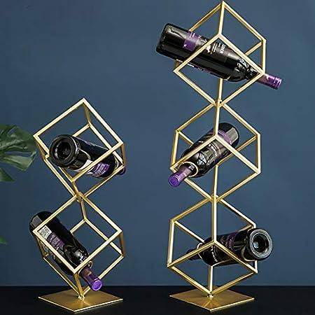 HCYSNG Vinoteca de pie Soporte para Botellas de Vino de Metal de Almacenamiento Práctico Estante para Botellas de Vino botelleros Vino (Color : Three Layers Gold)