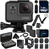 6Ave GoPro HERO6 Black + 64GB microSDXC Card + Battery For Gopro Hero + GoPro 3-Way Pole + Micro HDMI Cable + Custom GoPro Case for GoPro HERO4 and GoPro Accessories + MicroFiber Cloth Bundle
