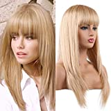 Cheap BLONDE UNICORN Beautiful Long Straight Wigs with Straight Bangs Human Hair Wig mix Synthetic Fiber Wigs for Women(18/613#)