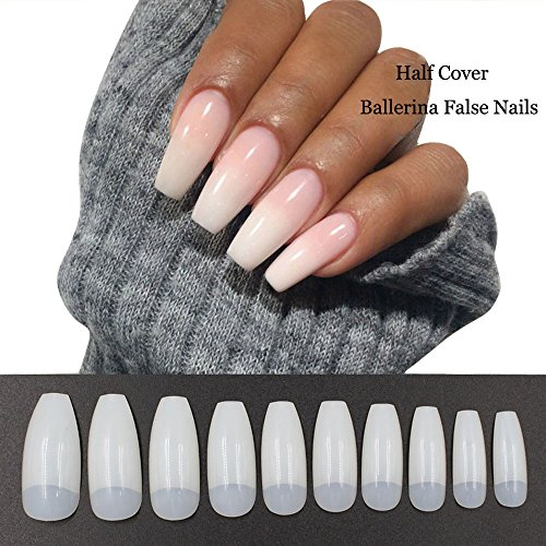 500PCS Coffin Nails Half Cover Ballerina Nail Tips False Artificial Acrylic Nails (Half-Natural)]()