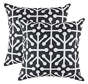 TreeWool, Cotton Canvas Octaline Accent Decorative Throw Pillow Covers (2 Cushion Covers; 20 x 20 Inches; Black & White)