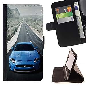 BullDog Case - FOR/Samsung Galaxy S4 Mini i9190 / - / BLUE JAG XKR SEXY CAR /- Monedero de cuero de la PU Llevar cubierta de la caja con el ID Credit Card Slots Flip funda de cuer