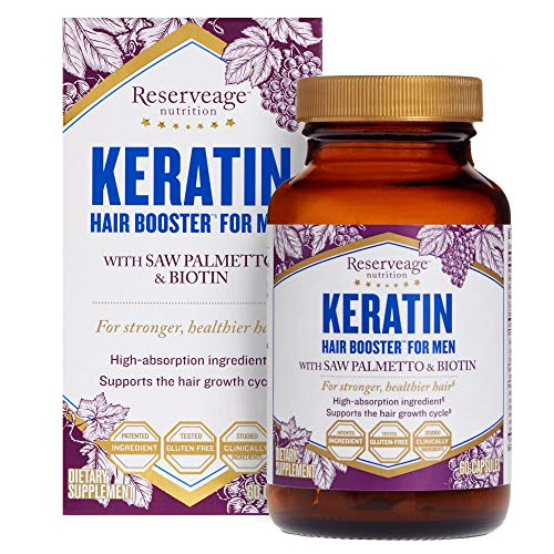 Reserveage, Keratin Hair Booster for Men, Hair Supplement, Supports Healthy Growth and Thickness with Biotin, Gluten Free, 60 Capsules (30 Servings) (Best Form Of Resveratrol)