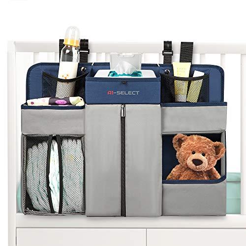 Baby Nursery Diaper Organizer - Hanging Caddy Accessory Organizer for Baby Crib, Playard, Changing Table (Navy Blue)