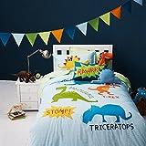 FADFAY Quirky Dinosaurs Duvet Cover Prehistoric Wonderland Kids Bed Sets Full