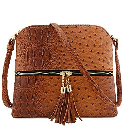 - Faux Ostrich Skin Medium Crossbody Bag with Tassel Brown