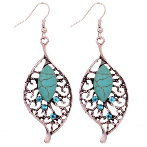 Yazilind Jewelry Vintage Tibetan Silver-plated Leaf Shape Turquoise Drop Dangle Earrings for Women