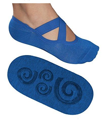 Lupo Women's Essential No Slip Crossover Yoga Pilates Barre Socks, Medium Blue
