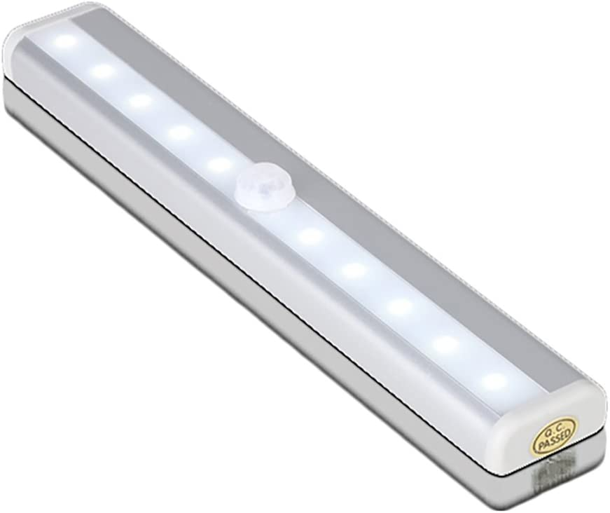Motion Sensor Night Light Bar- Battery Operated 10 LED Lights for Under Cabinet Lighting, Closet, Hallway, Stairs Portable Stick-on Anywhere Magnetic Wall Light for Easy Installation