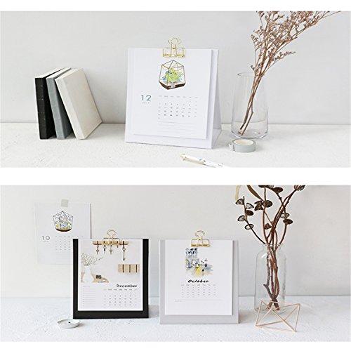 Caveen Standing Desk Calendar 2018 With Metal Clip Monthly Desktop Agenda Planner Creative Elegant Standing Calendar For Home Office Using Glass -