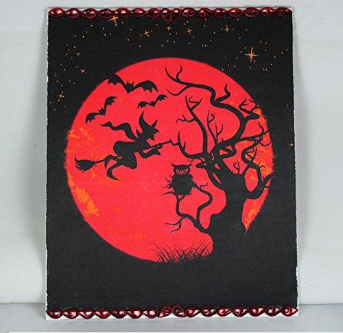 Handmade Halloween Decorations Paper Quilling Art Witch Decor Big Red Full Moon Orange (Upscale Halloween Decor)