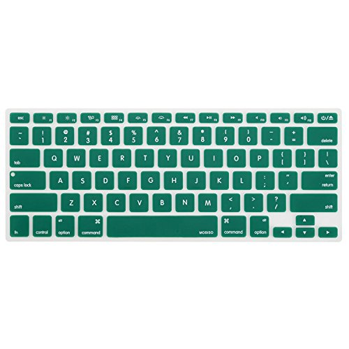 MOSISO Keyboard Cover Silicone Skin Compatible MacBook Pro 13 Inch, 15 Inch (with or Without Retina Display, 2015 or Older Version) MacBook Air 13 Inch, Peacock Green