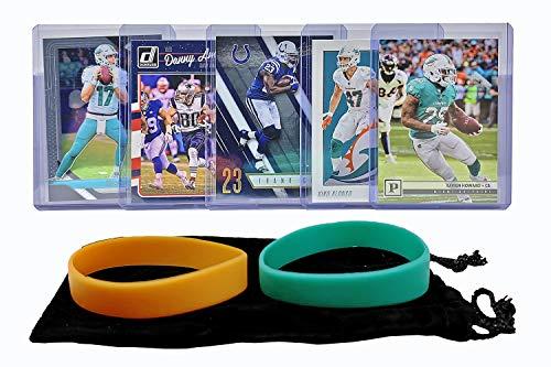 Miami Dolphins Cards: Ryan Tannehill, Frank Gore, Danny Amendola, Kiko Alonso, Xavien Howard ASSORTED Football Trading Card and Wristbands Bundle ()