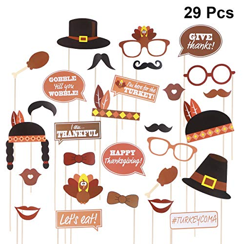 (Tinksky Thanksgiving Photo Booth Props Happy Thanksgiving Photo Prop Kit Party Favor)