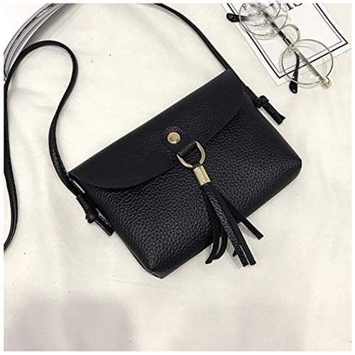 Shoulder Fashion Messenger Handbag Shoulder Small Seaintheson Black1 Bags Bag Shoulder Purse Brown Vintage Crossbody Mini Tassel Leather Bag Bags Clearance PxFIq1f