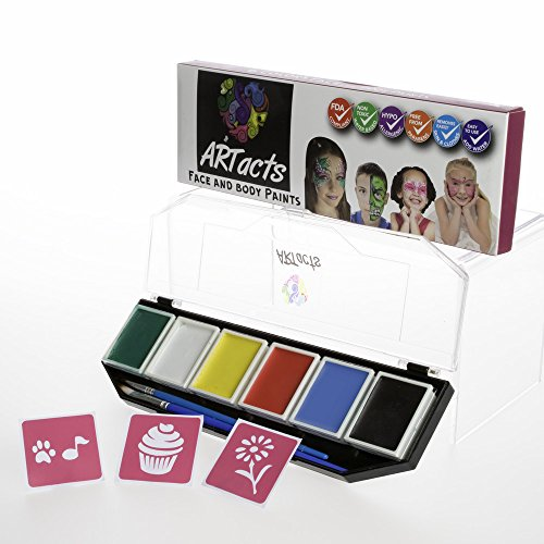 Costume Contest Las Vegas Halloween (ARTacts Face Paint Kit For Kids- 6 Color Paints- 2 Brushes And Stencils Comes In A Pallet For Easy Mixing Nontoxic And Waterbased Sutiable For Childrens Senstive And Hypoallergenic Skins)
