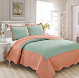 Fancy Collection 3pc Luxury Bedspread Coverlet Embossed Bed Cover Solid New Over Size #Veronica (Spa/Coral, Full/Queen)