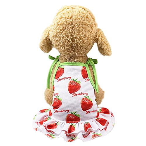 NEARTIME Puppy Clothes, Small Dog Cat Pet Dress Fly Sleeve Dress for Pet (XL, A-Red)