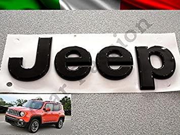 Texto Escudo Logo Jeep Renegade Cherokee Grand Cherokee Compass delantera original negro Front Badge Emblem: Amazon.es: Coche y moto