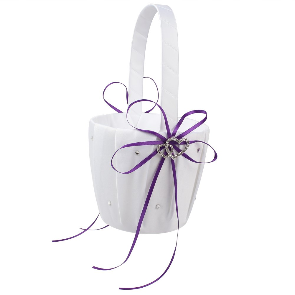 OurWarm Double Heart Wedding Flower Girl Basket White Satin Rhinestone Decor Purple Wedding Party Favor by OurWarm