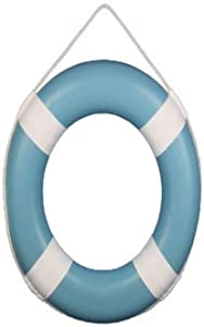Hampton Nautical Light Blue Painted Lifering with White Bands, 20""
