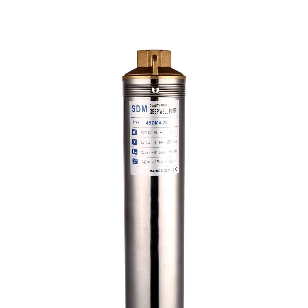 SHYLIYU Deep Well Submersible Pump 4 OD Diameter Stainless Steel Water Pump 1.25 inch Outlet 220V-240V//50Hz 2.2kw//3.0hp Bore Electric Power Pump