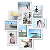 pic frame wall - Adeco PF0172 Decorative Wood Wall Hanging Collage Picture Photo Frame, 10 Openings of 3.5x5