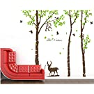 Giant Forest Deer Monkey Bird Tree Wall Decals Vinyl Sticker Kids Nursery Decor, Brown and Green(trees are 72 inch tall)